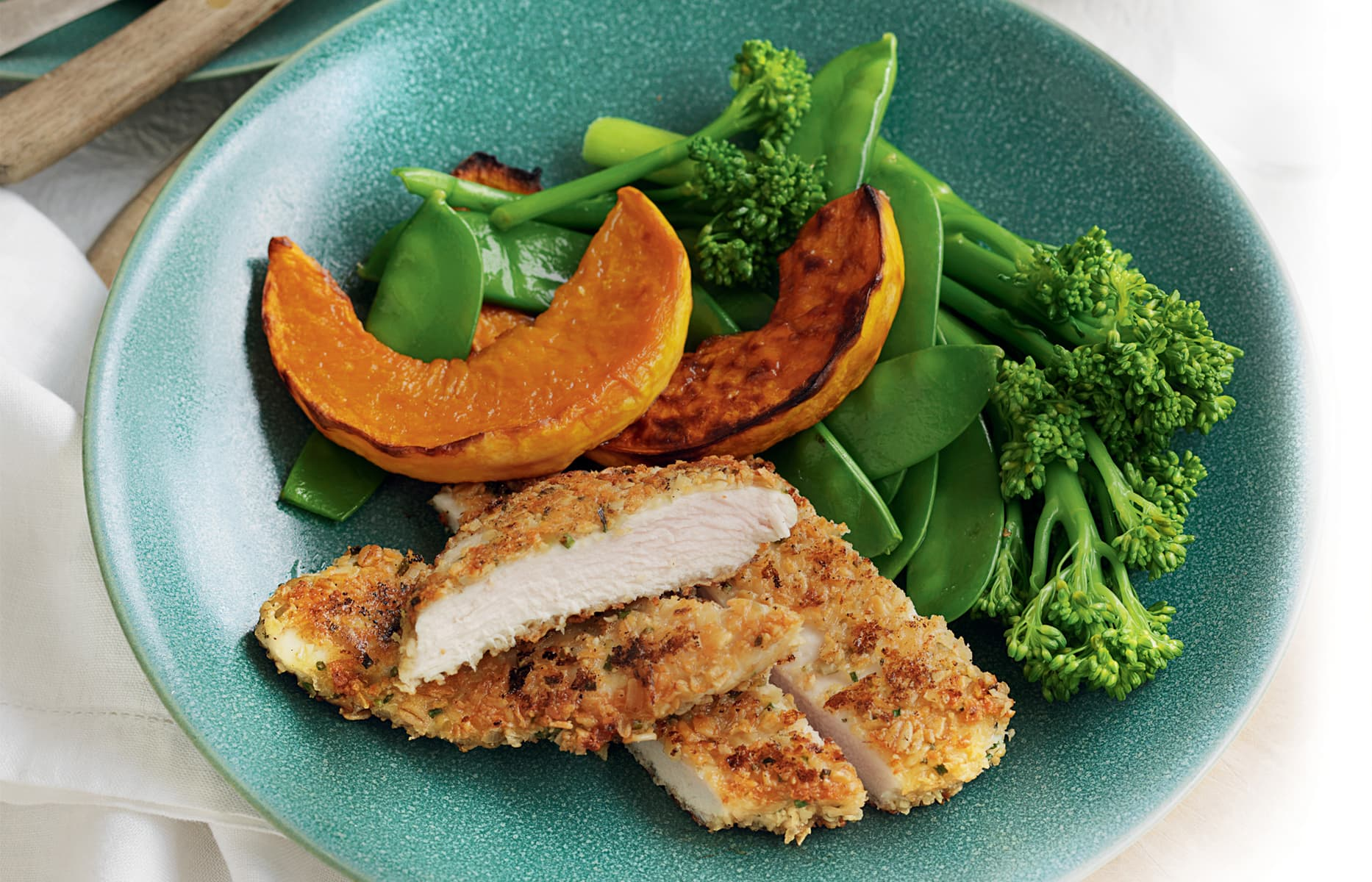 Chicken Schnitzel Pumpkin And Steamed Greens Healthy Food Guide