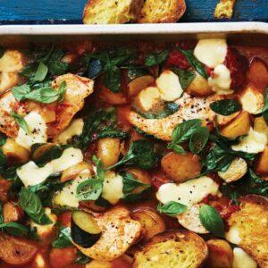 Chicken, spinach and potato bake
