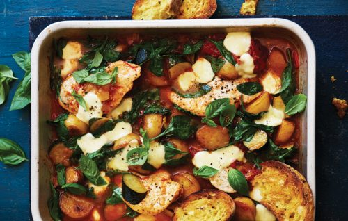 Chicken, spinach and potato bake