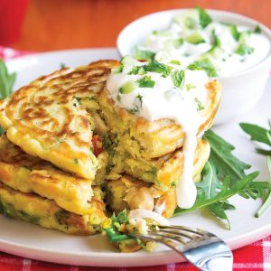 Chickpea and chicken curry fritters with yoghurt raita