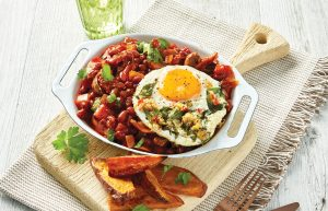 Chilli beans with spicy eggs