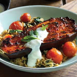 Chilli and miso baked eggplant on rice pilaf