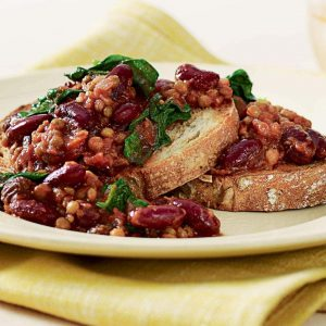 Chilli beans and lentils on toast