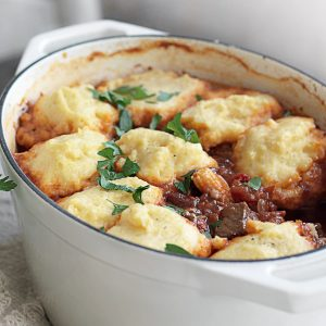 Chilli beef stew with polenta dumplings