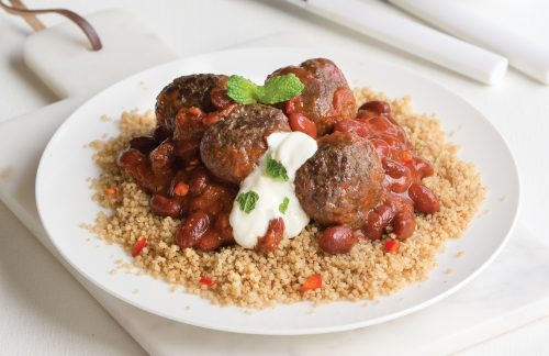 Chilli meatballs with spiced couscous