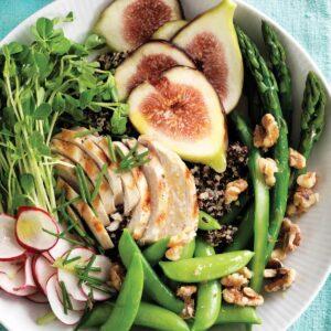 Chopped chicken, quinoa, fig and walnut bowl