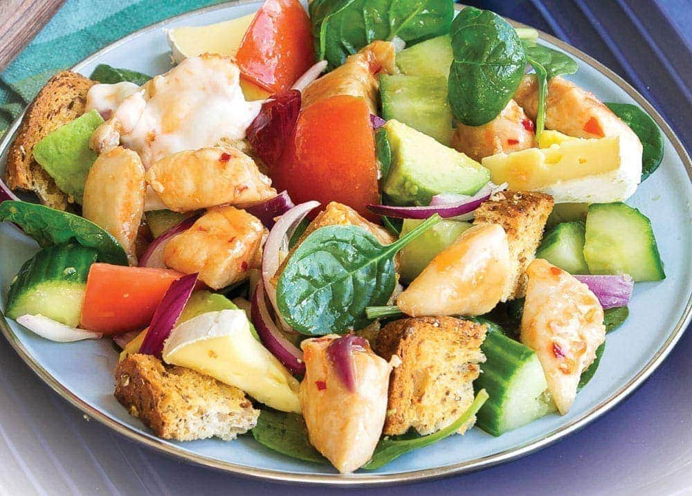 Chunky chilli chicken and brie salad