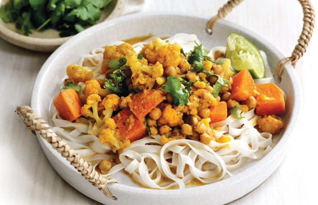 Coconut chickpea curry with noodles