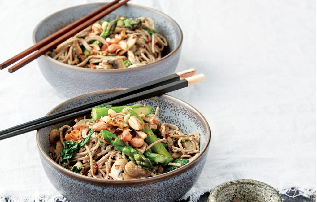 Cold Japanese noodles with tofu, honey and peanut dressing