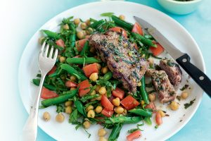 Coriander, mint and chilli steak with chickpea salad