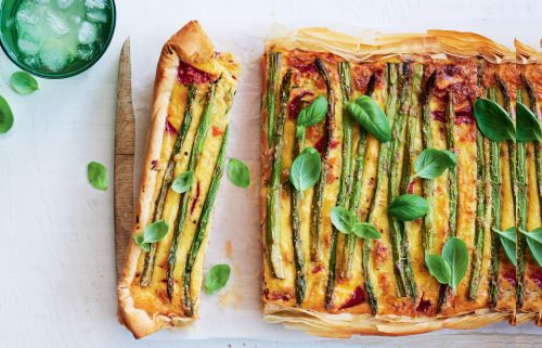 Courgette, asparagus and basil quiche
