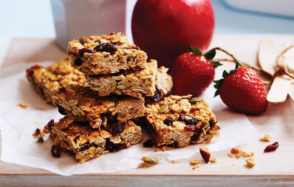 Cranberry, oat and seed bars