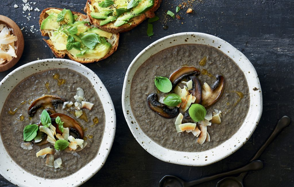 Creamy mushroom and coconut soup