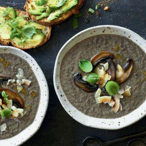 Creamy mushroom and coconut soup