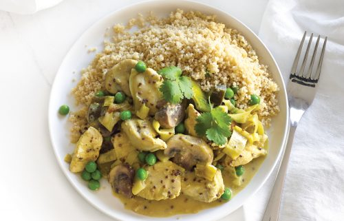 Creamy mustard and leek chicken with wholemeal couscous