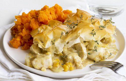 Creamy chicken and corn filo pie