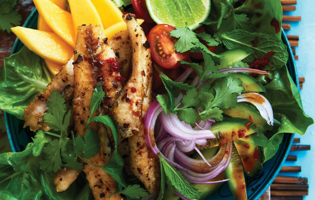 Crispy fish, mango and chilli salad