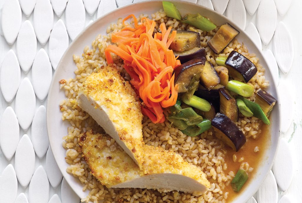 Crispy katsu chicken with braised eggplant and quick carrot pickle