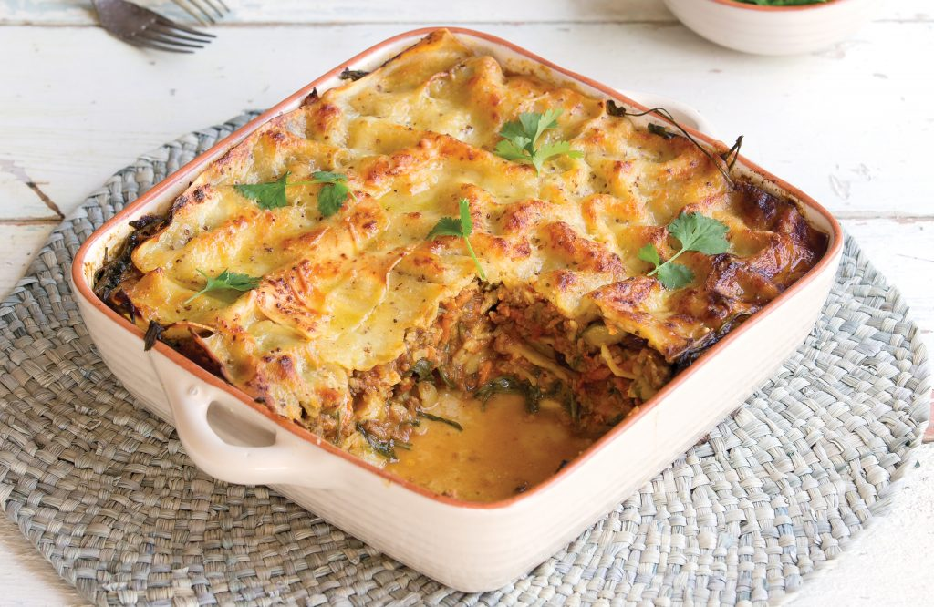 Curried beef lasagne