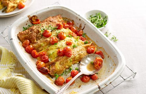 Egg cannelloni with creamy spring veges and roast tomato sauce