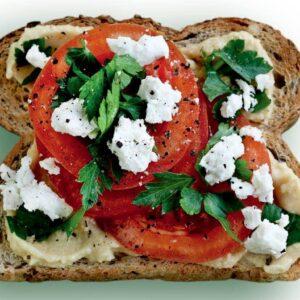 Feta and tomato toast topper