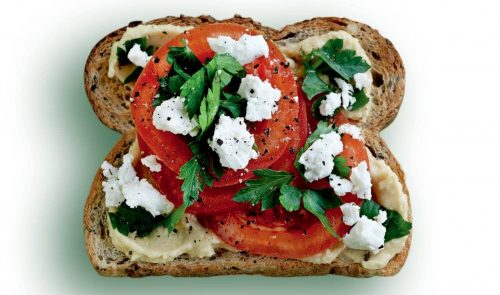 Feta and tomato toast topper