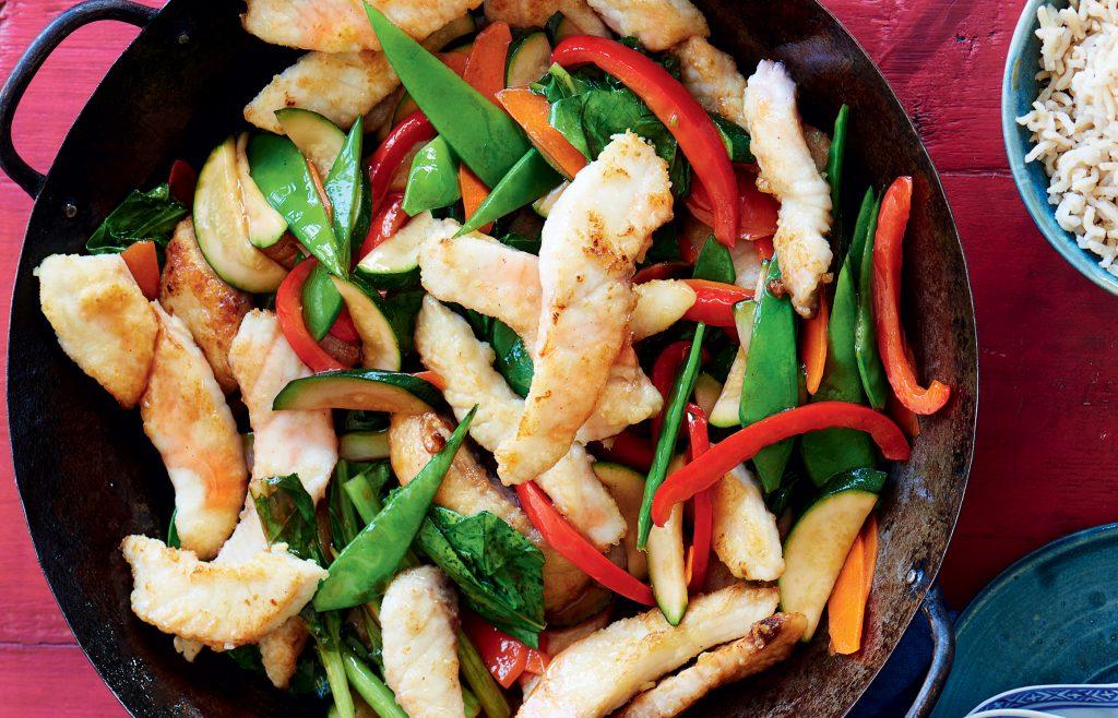 Fish and vege stir-fry