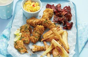 Fish fingers with vege chips and sweet relish