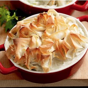 Fish pies with fennel and leek