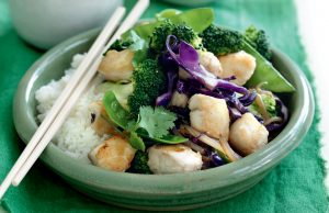 Fish stir-fry with broccoli and ginger