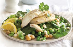 Fish with chickpea and edamame salad