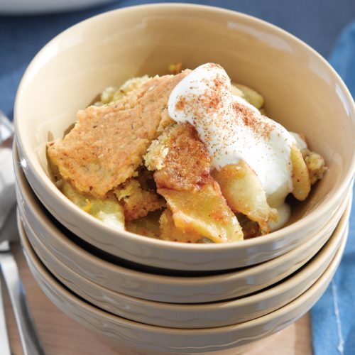 Fresh apple cobbler with golden syrup