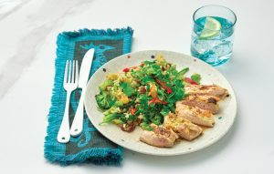 Fruity rice salad with grilled mustard chicken