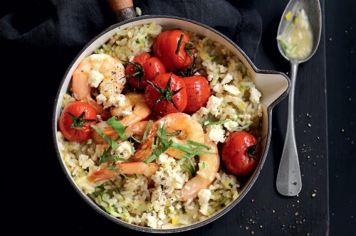 Garlic prawn and basil risotto