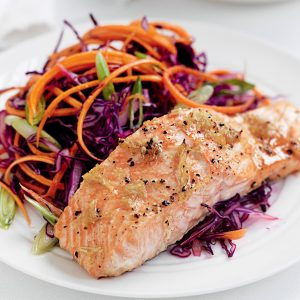 Ginger-baked salmon and red cabbage slaw