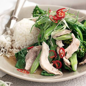 Ginger chicken with Asian greens