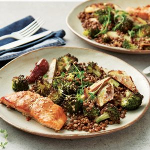 Weeknight meal plan: Miso salmon, cauli bake, pear salad, poached chicken