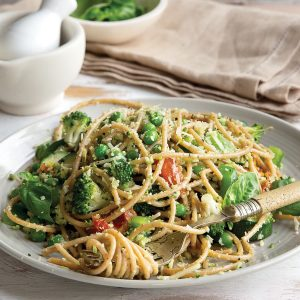 Green vege-packed spaghetti