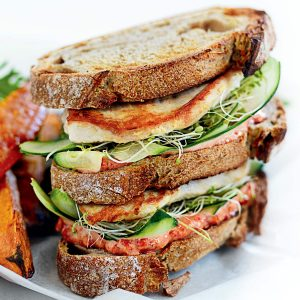 Grilled chicken club sandwich with kumara wedges