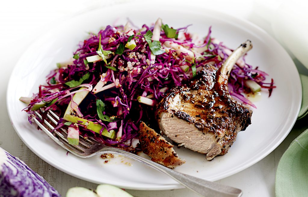 Grilled pork with beetroot, apple and quinoa coleslaw