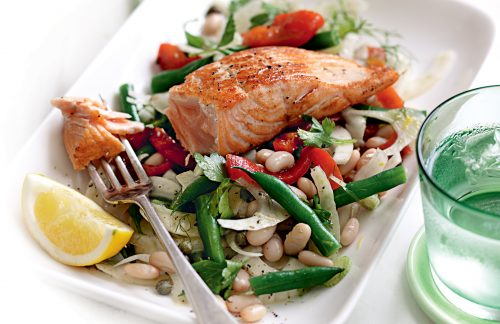 Grilled salmon with mixed bean and fennel salad