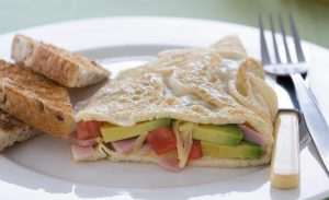 Ham and avocado omelette