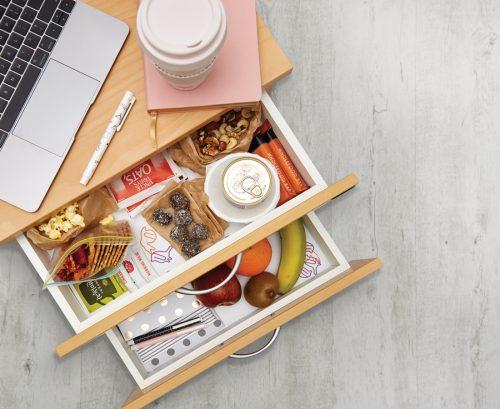 Healthy desk drawer stash