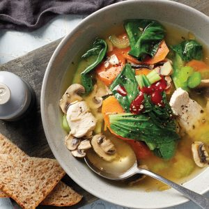 Hearty miso ginger chicken soup