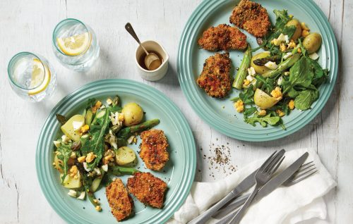 Herb-crumbed chicken with asparagus, potato and egg salad
