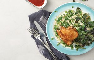 Herby rice salad with grilled chicken and kalettes