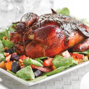 Honey-glazed chicken with apricot and kaffir lime stuffing