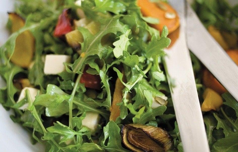 Honeyed roasted vegetable, feta and rocket salad