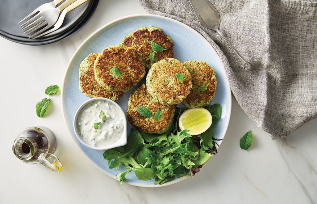 Hummus and broccoli fritters