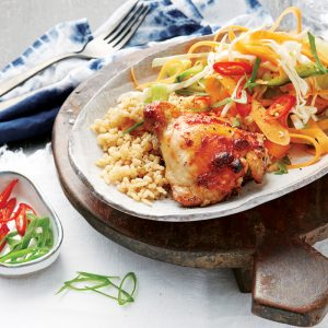 Spiced barbeque chicken with cucumber pickle salad